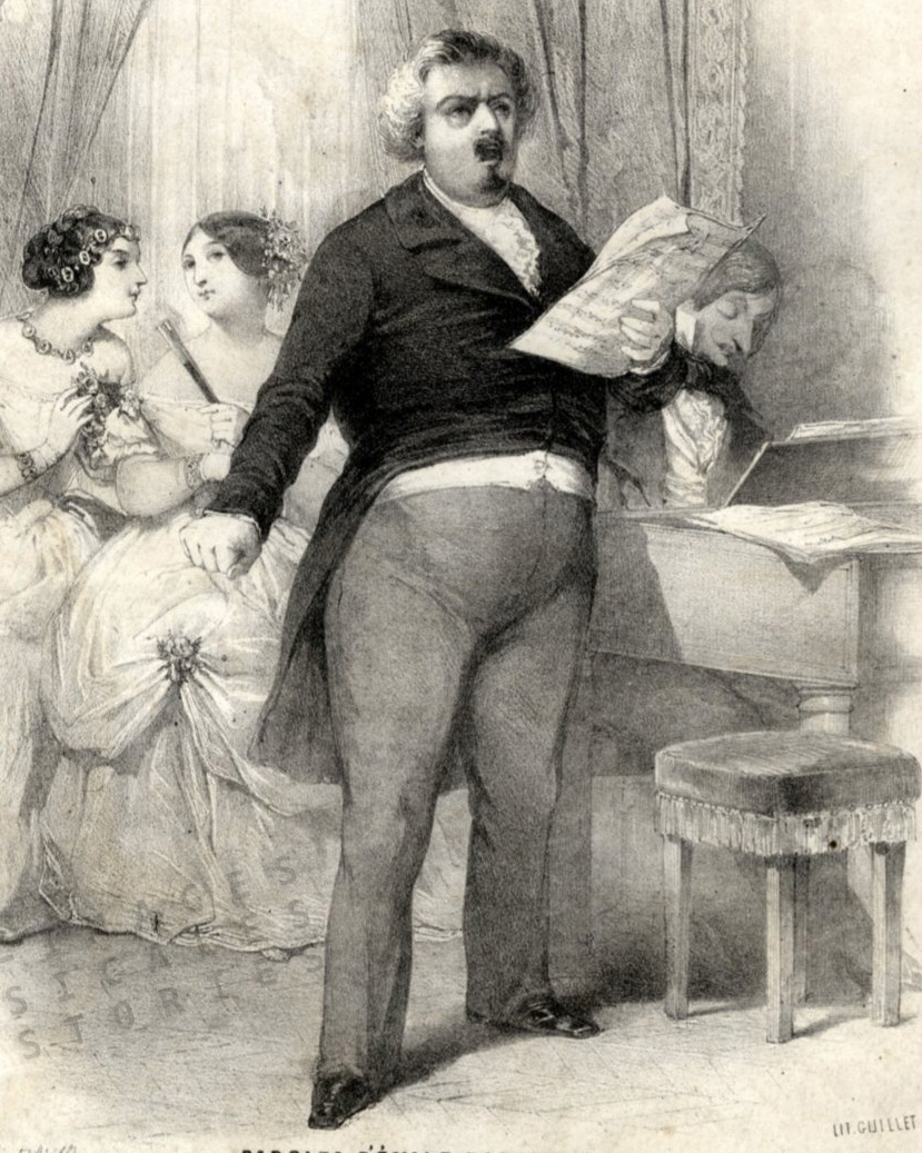 Detail from the sheet music cover for 'Ténors et Basses' (Air Bouffe) , by Paul Henrion, lyrics by Emile Barateau, published by Colombier (Paris, s.d.)