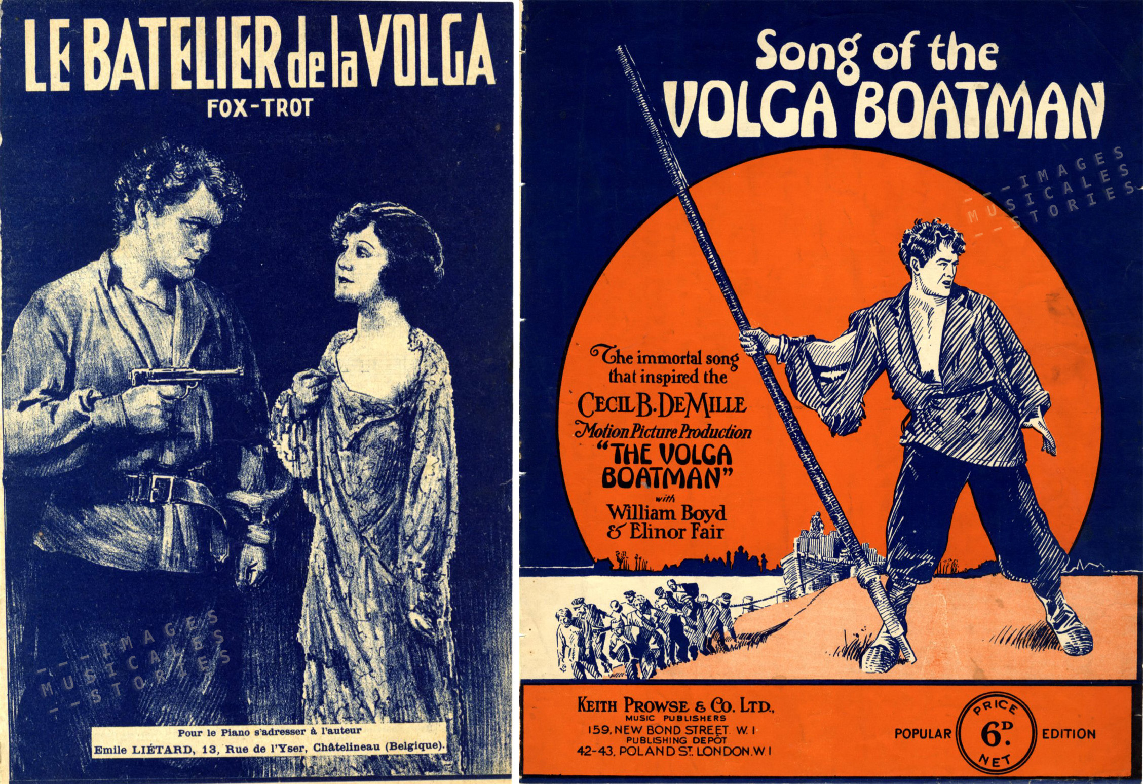Two sheet music covers. Left: 'Le Batelier de la Volga' by Emile Liétard (Châtelineau, s.d.), unknown illustrator. Right: 'Song of the Volga Boatman' published by Keith, Prowse & Co (London, s.d.), unknown illustrator.