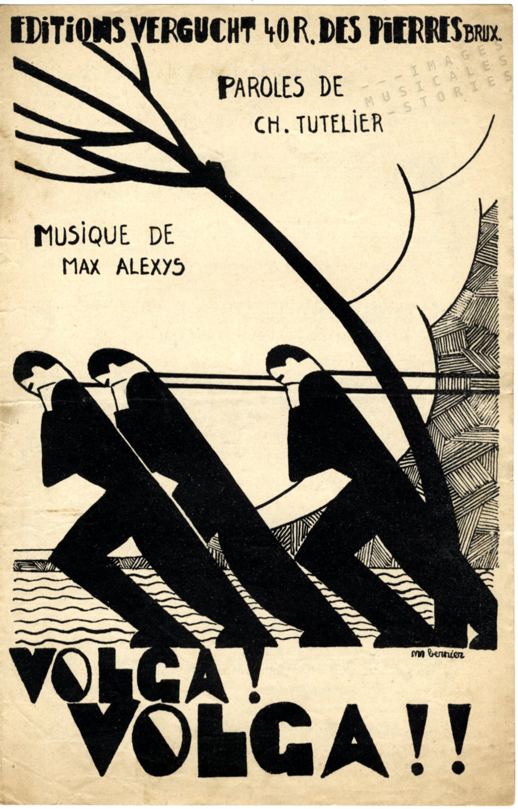 Cover for the sheet music 'Volga!' by Max Alexis and Charles Tutelier, published by Vergucht and illustrated by Alfred Mariano Bernier