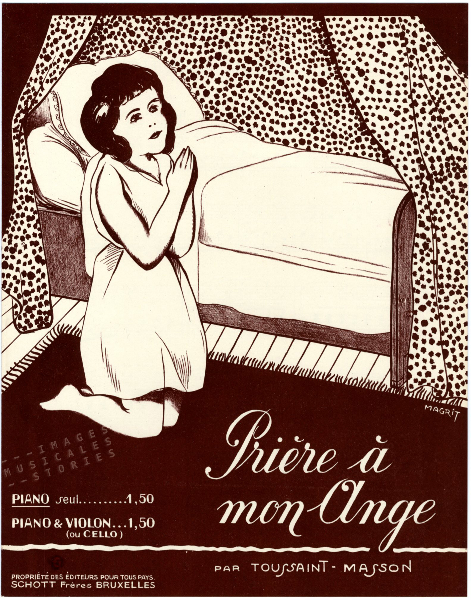 Sheet music cover illustrated by René Magritte: 'Prière à mon ante' by Toussain Masson (1924)