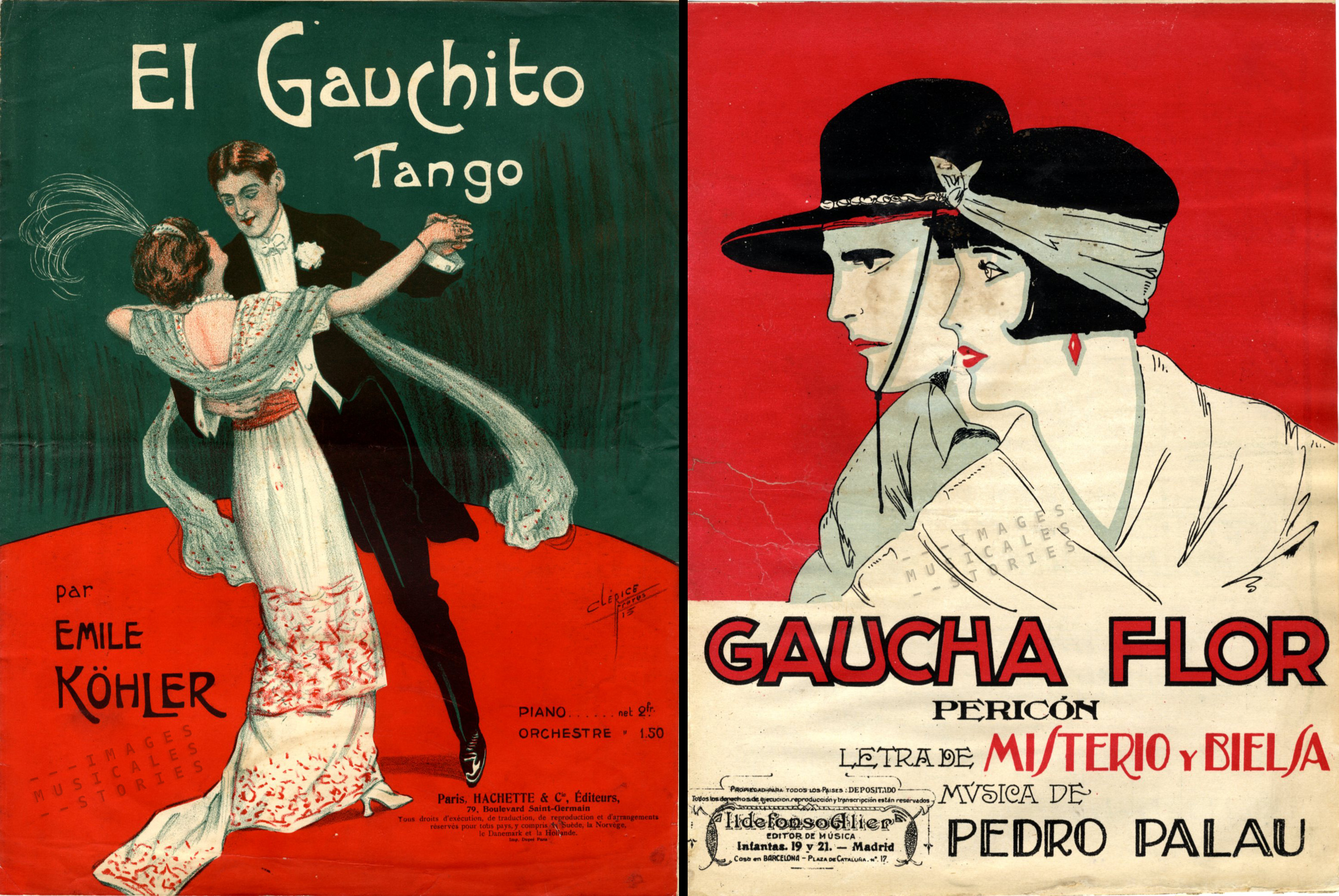 The Argentinian cowboys and girls conquered many sheet music covers.