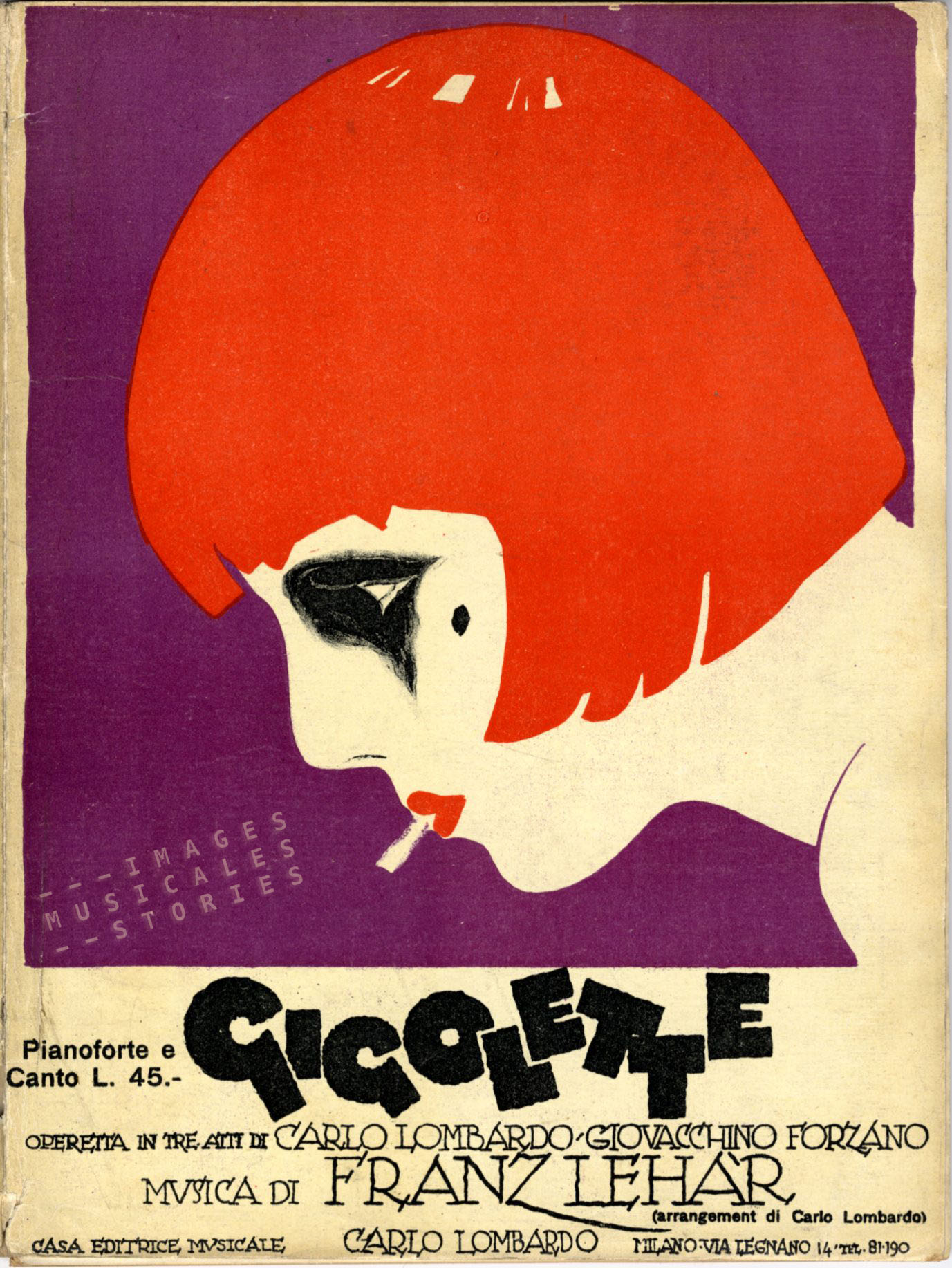 An Italian version of 'Gigolette' (Carlo Lombardo pub., Milano, 1926). Unknown illustrator.