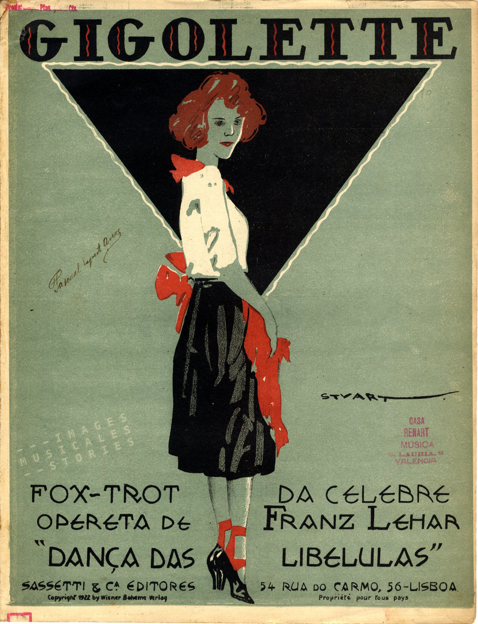 The Portugese version for Léhars 'Gigolette'. Sheet music cover; partition musicale illustrée