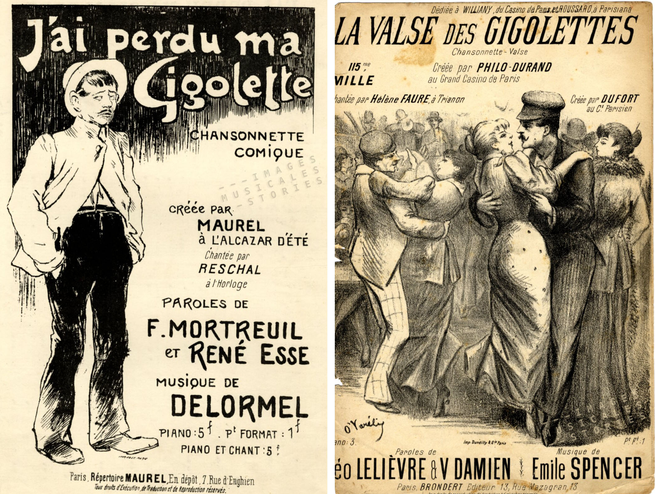 Left: illustration by Steinlen for 'J'ai perdu ma Gigolette'