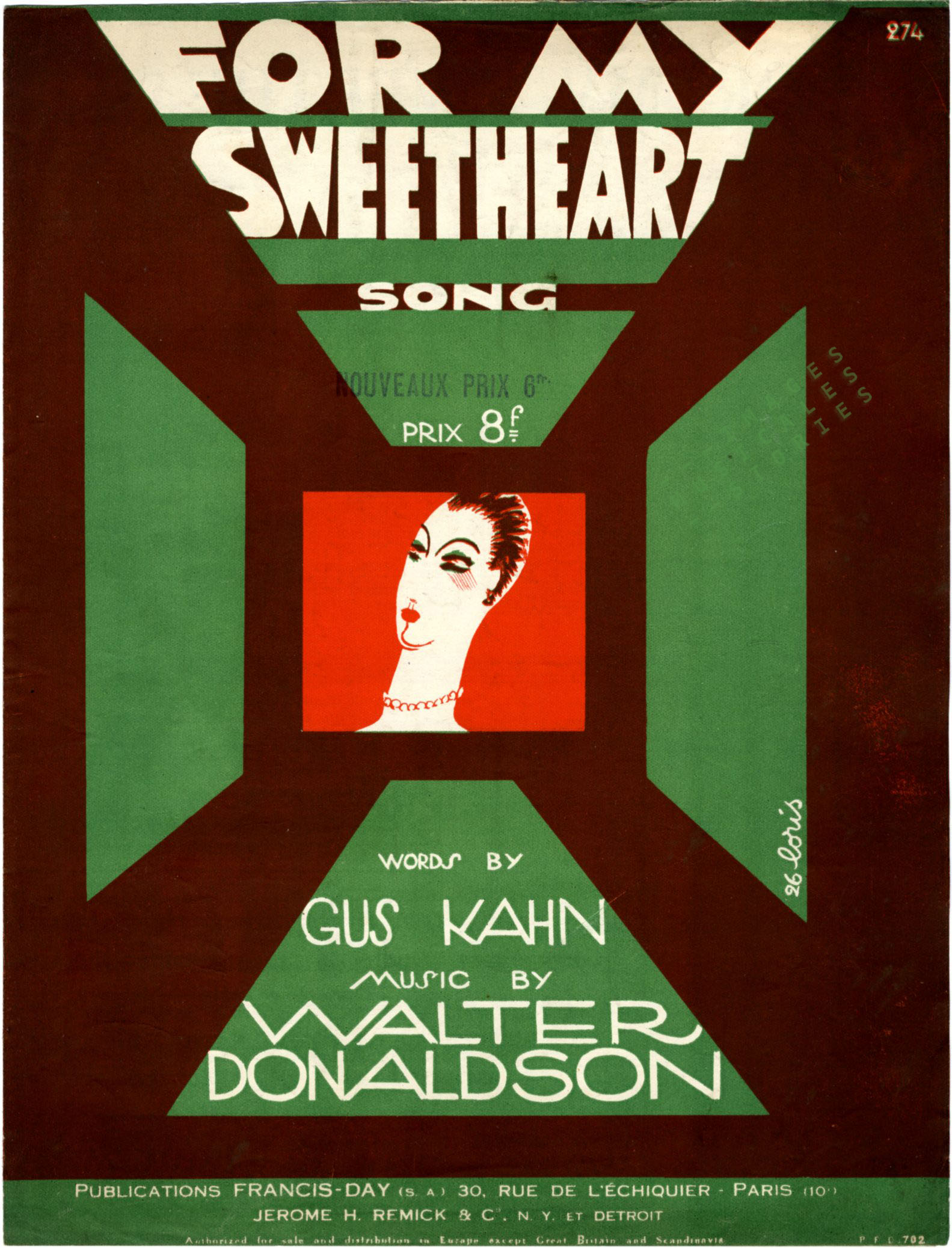 'For My Sweetheart', sheet music cover llustrated by Fabien Loris (1926)