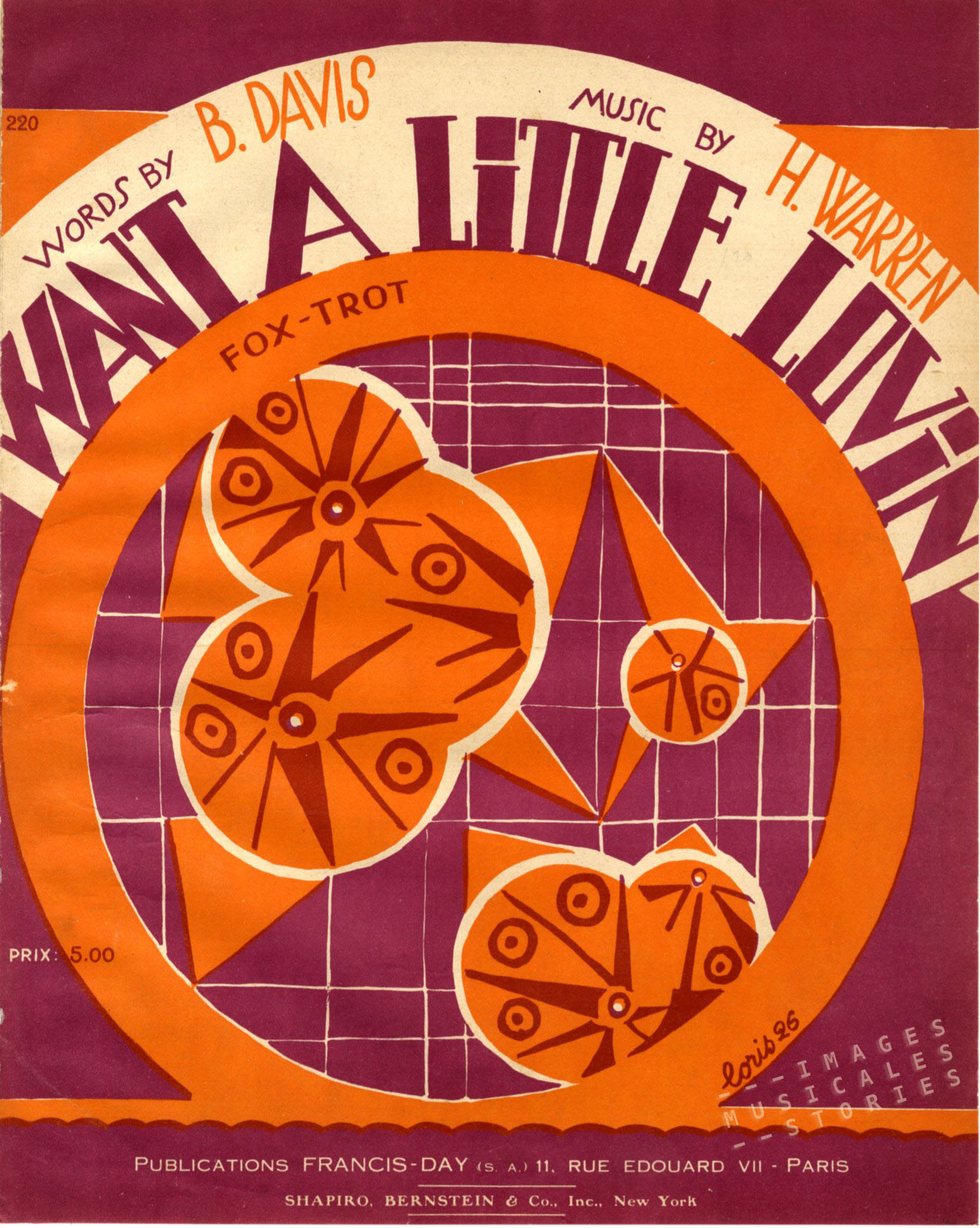 Sheet music cover designed by Fabien Loris. (1925)