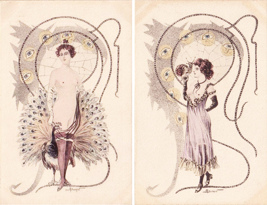 Saucy art nouveau postcards, illustrated by Douhin (source: Bouquet)