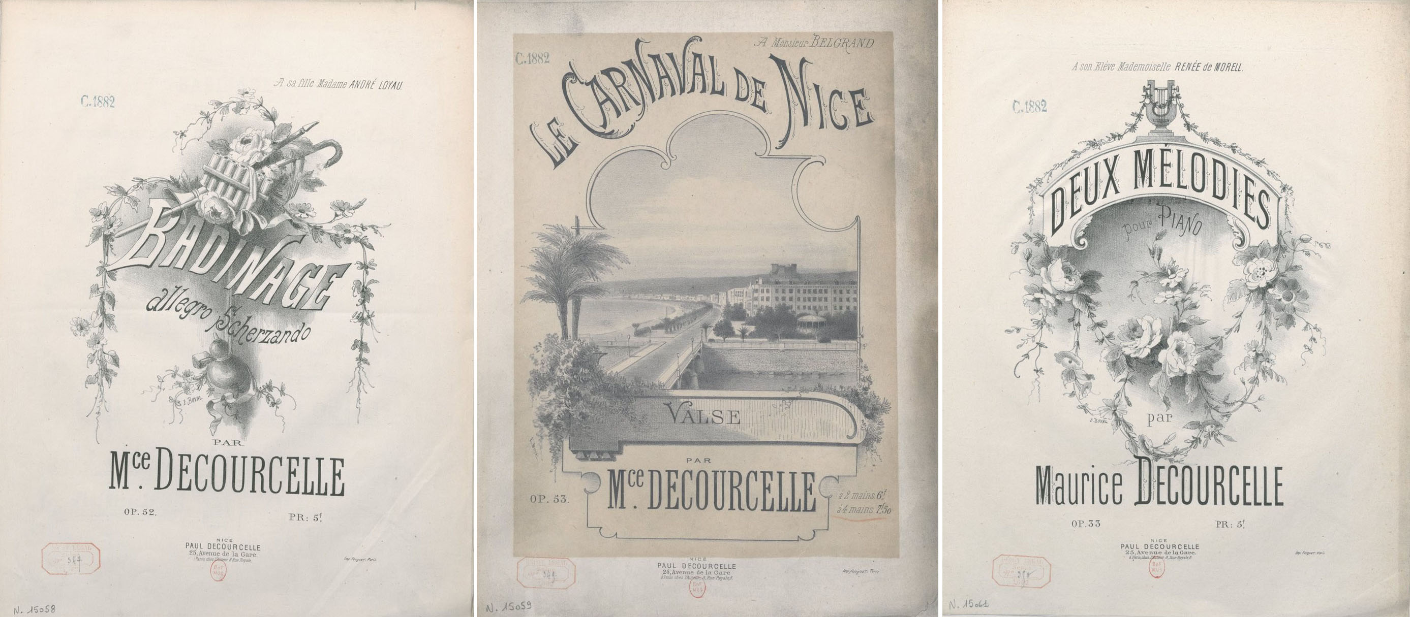 Three sheet music covers for the music by Maurice Decourcelle, published by his son Paul, and illustrated by Ernest Buvall.