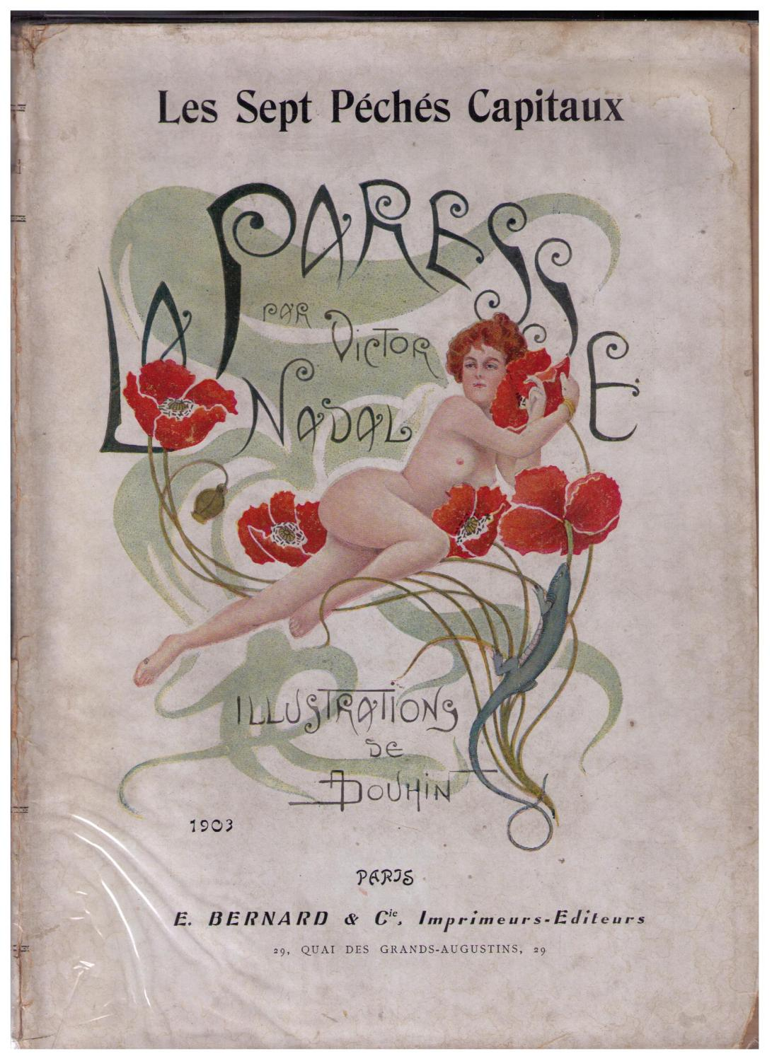 André Douhin's cover illustration for 'La Paresse' by Victor Nadal. Published by E. Bernard et Cie., 1903