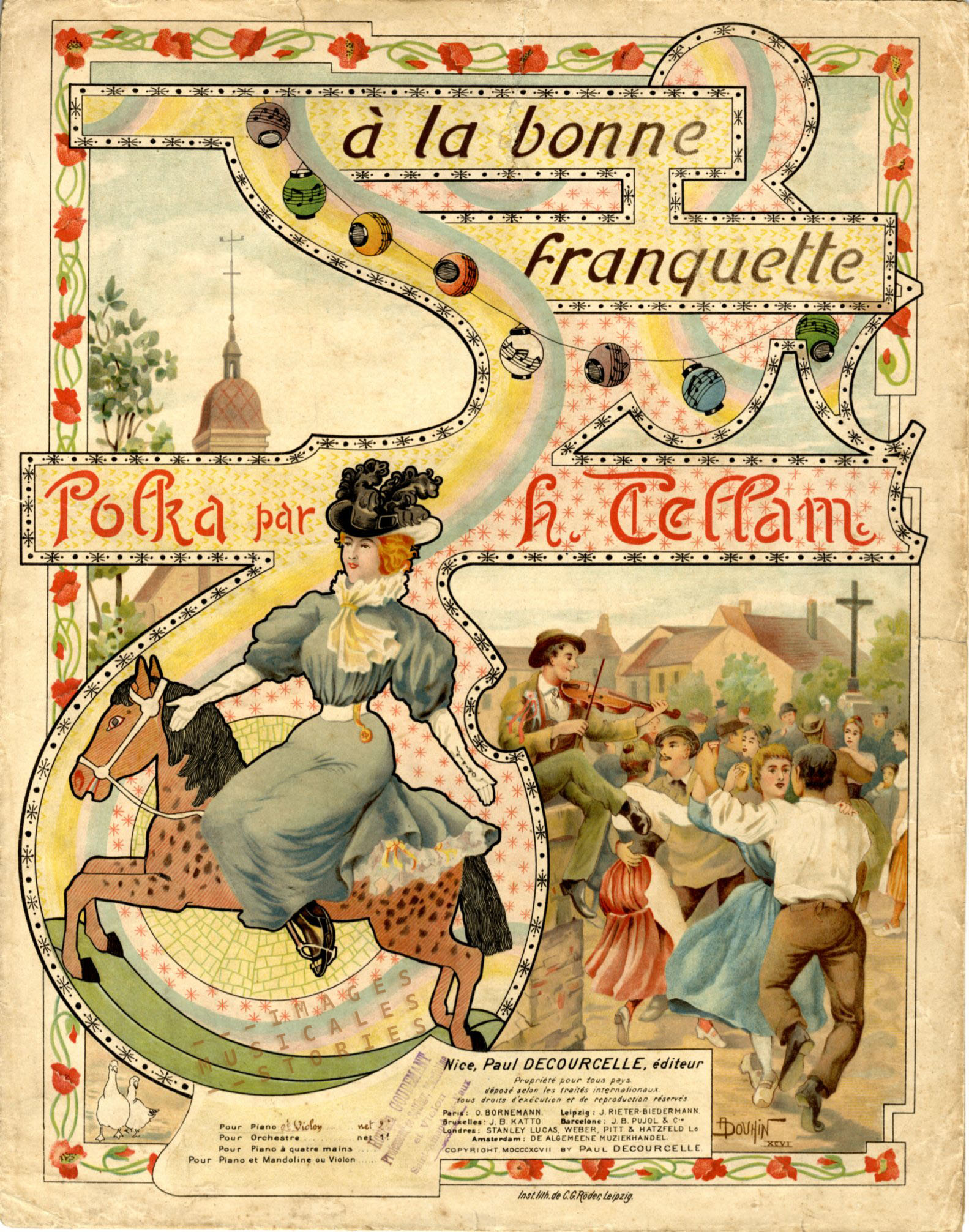 A. Douhin illustration foor sheet music cover 'A la bonnne franquette' (1897).