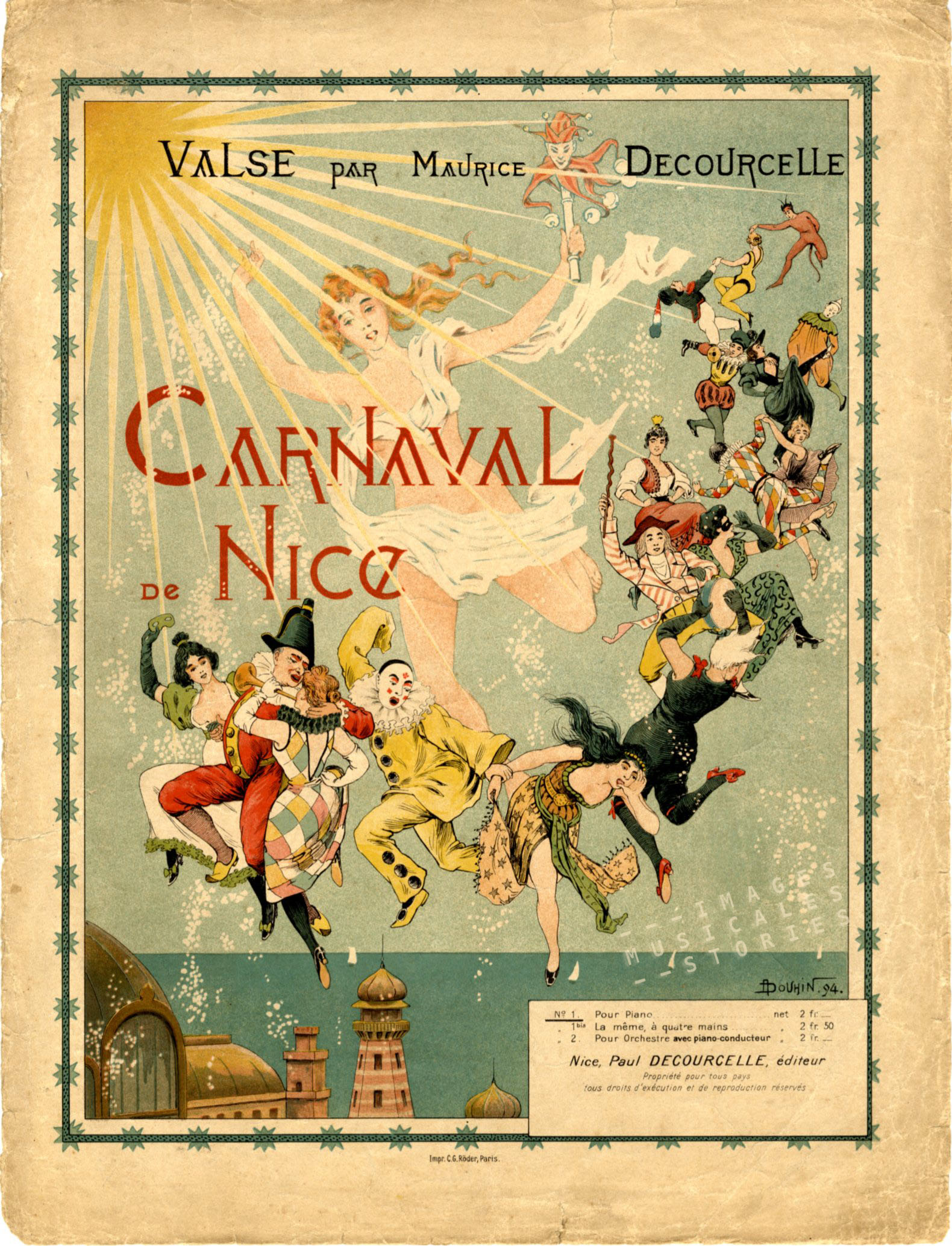 Sheet music for the Carnaval de Nice, Illustrated by Douhin in 1894.