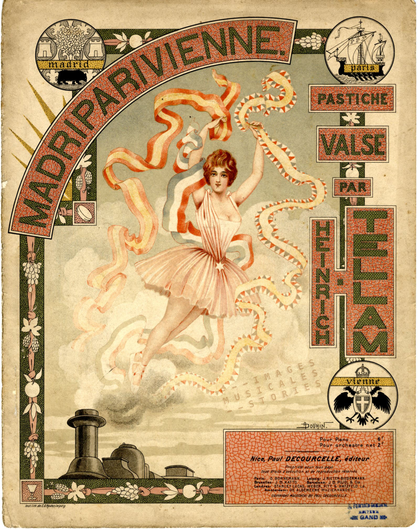 'MadriPariVienne' by H. Tellam. Sheet music cover illustrated by André Douhin (1896)