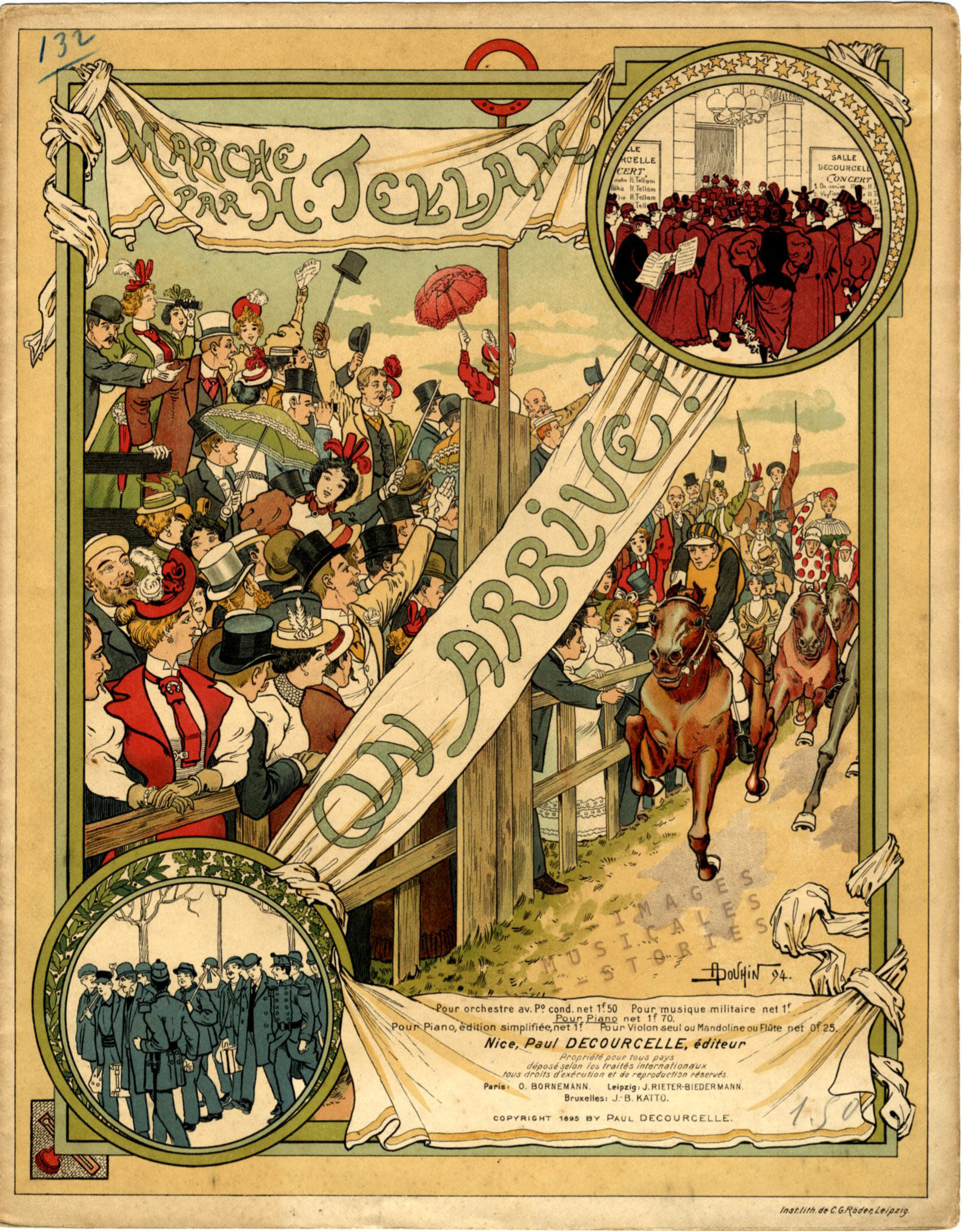 'On arrive' by H. Tellam (1895). Sheet music illustrated by André Douhin.