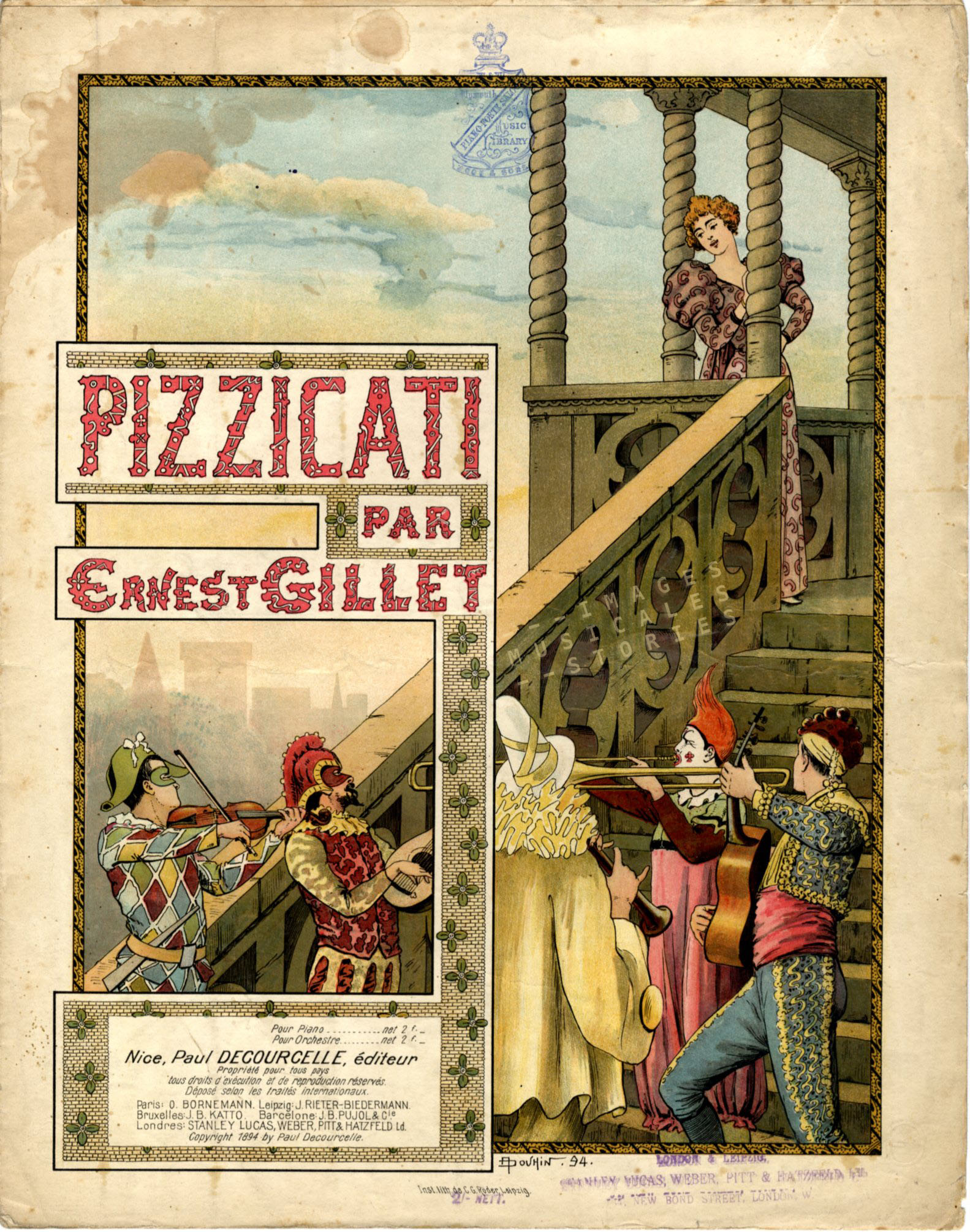 Cover for Pizzicati drawn by André Douhin (1894).