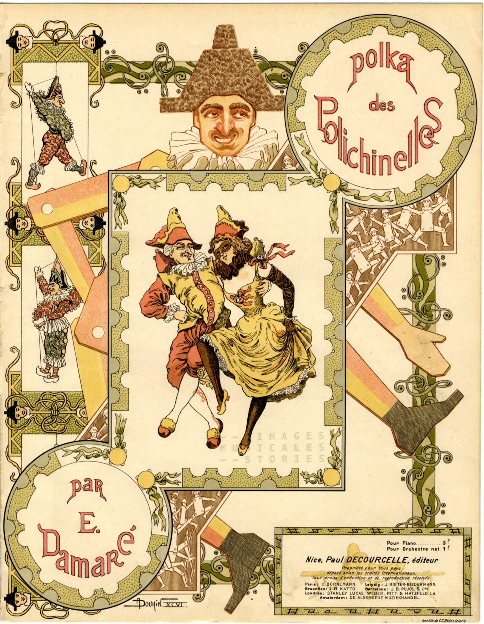 cover illustration by Douhin for 'Polka des Polichinelles' (1906)