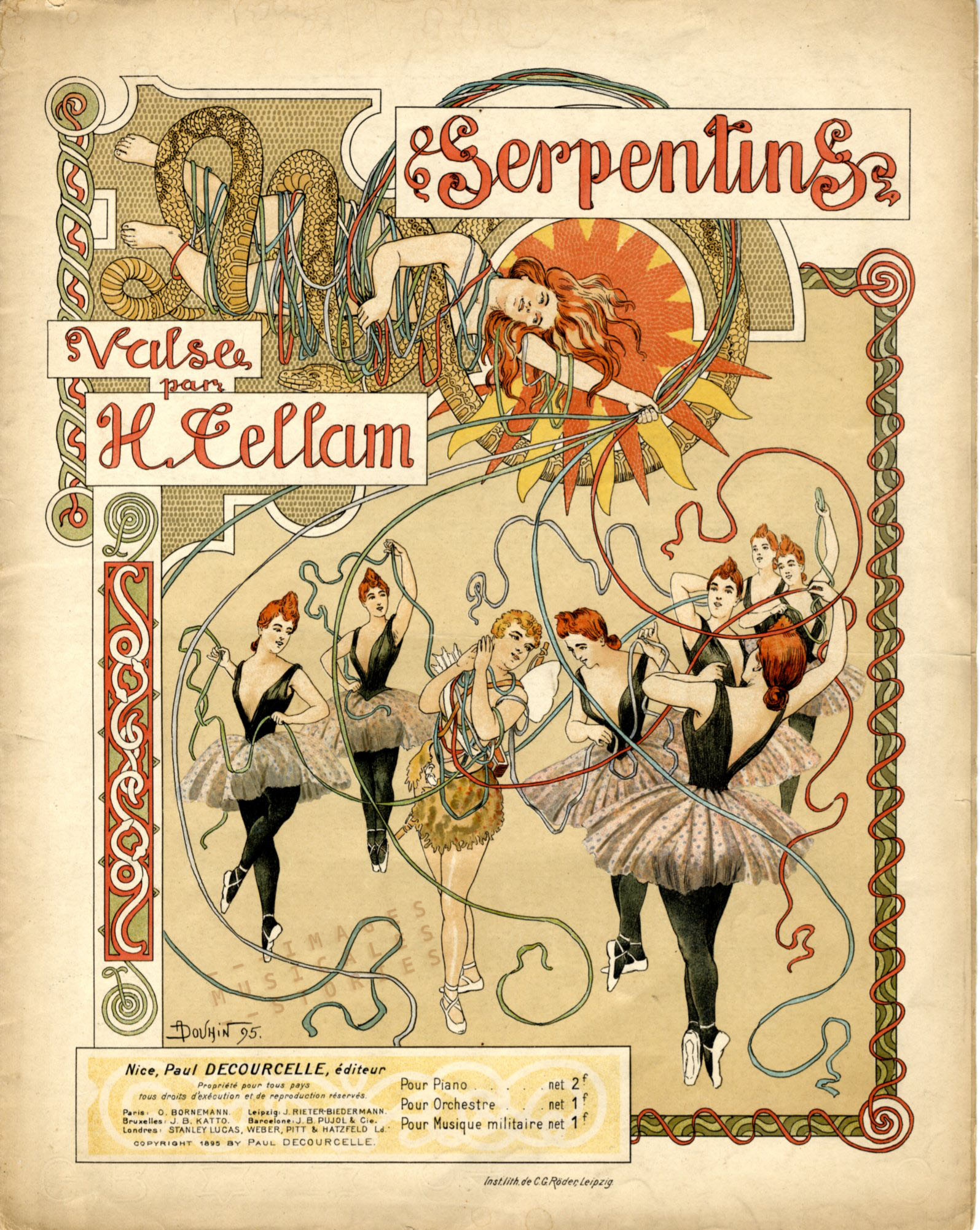 Partitions musicales illustrée par A. Douhin (1895).