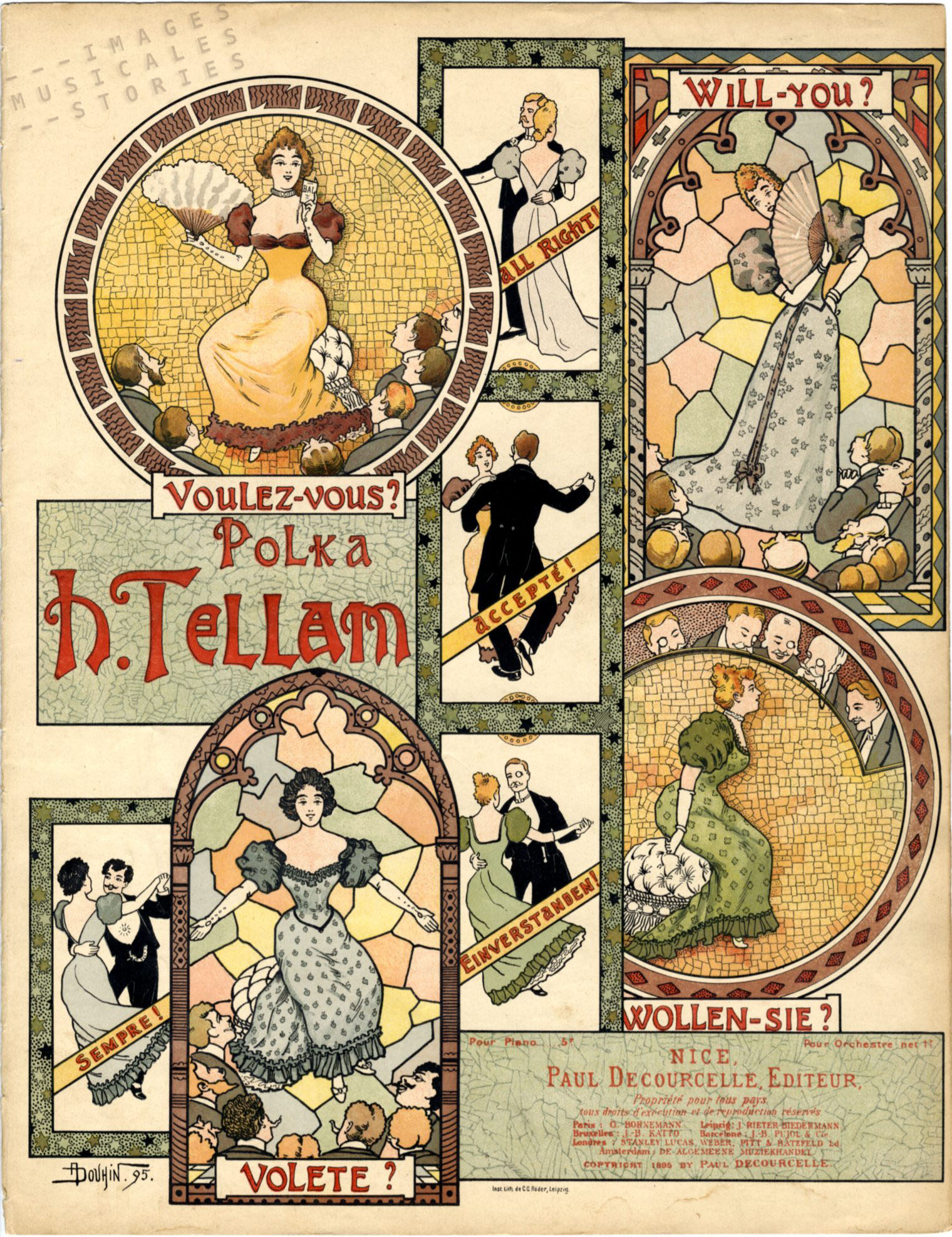 Cover design by André Douhin. for sheet music by Decourcelles (1895).