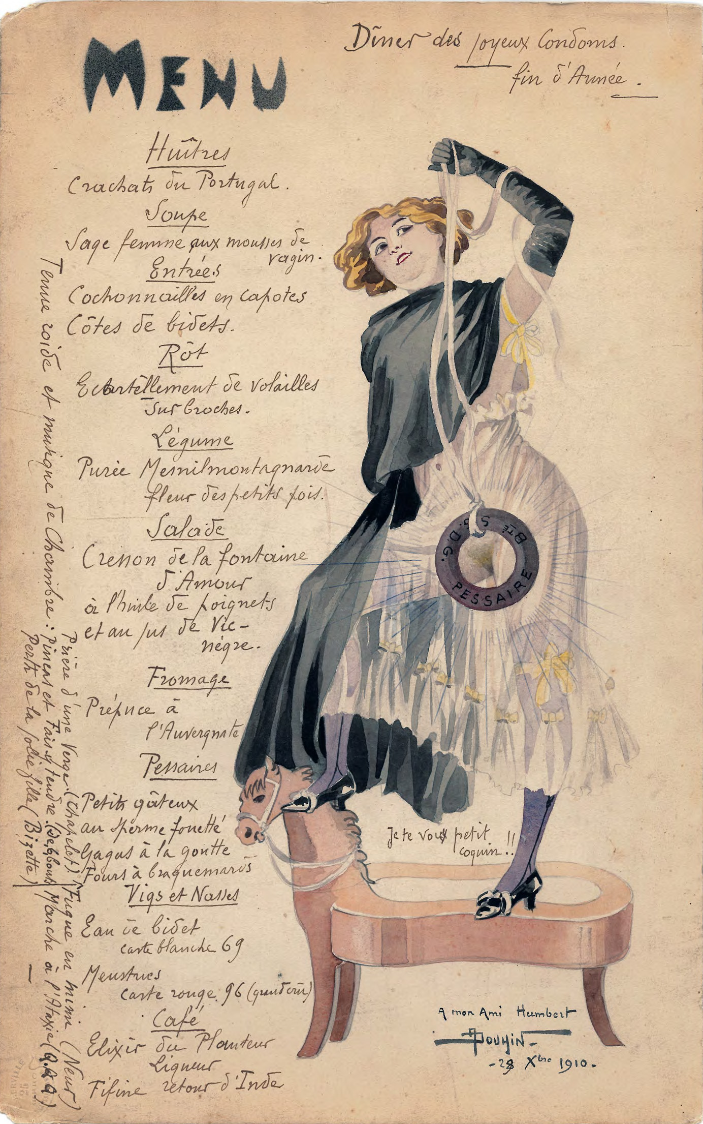 Menu drawn by André Douhin for the 'Dîner des joyeux Condoms', the New Year dinner of Eugène Humbert in 1911.