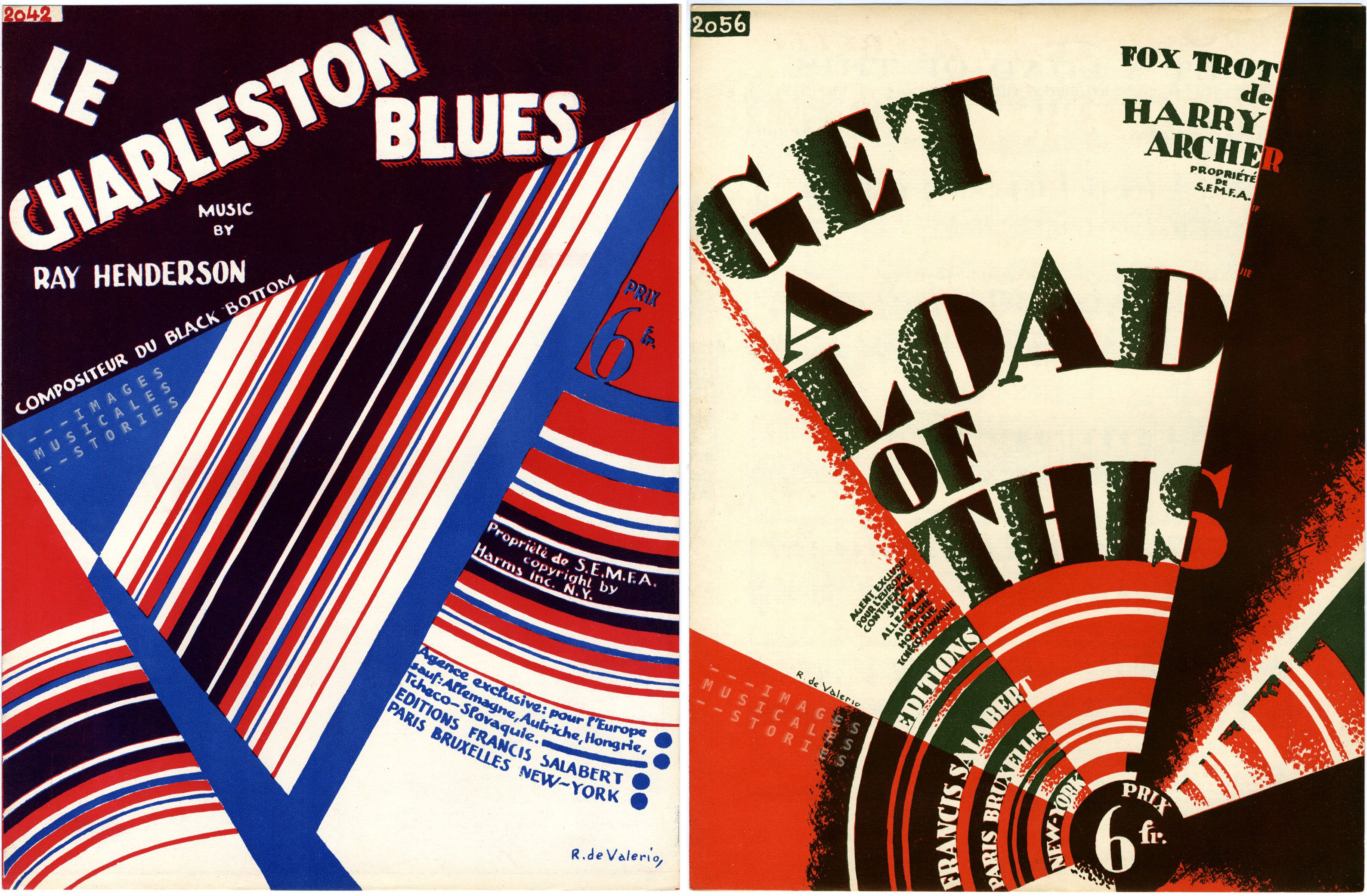 Abstract sheet music covers illustrated by Roger de Valerio.