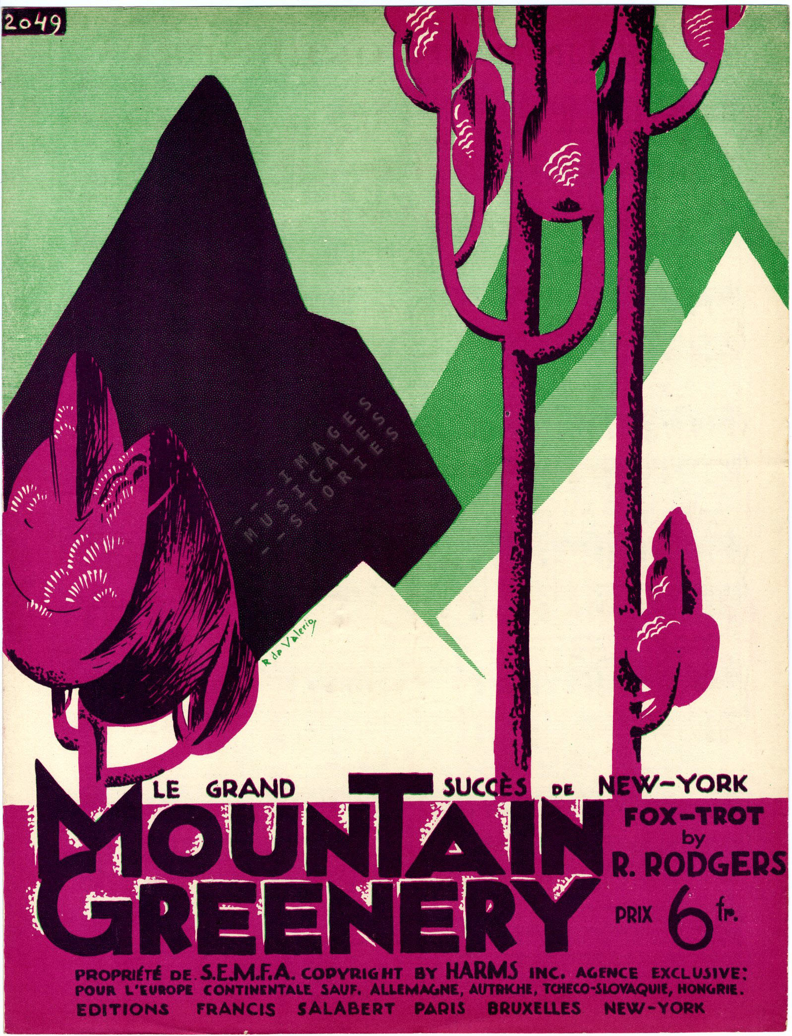 Mountain Greenery: sheet music illustration by Roger de Valerio