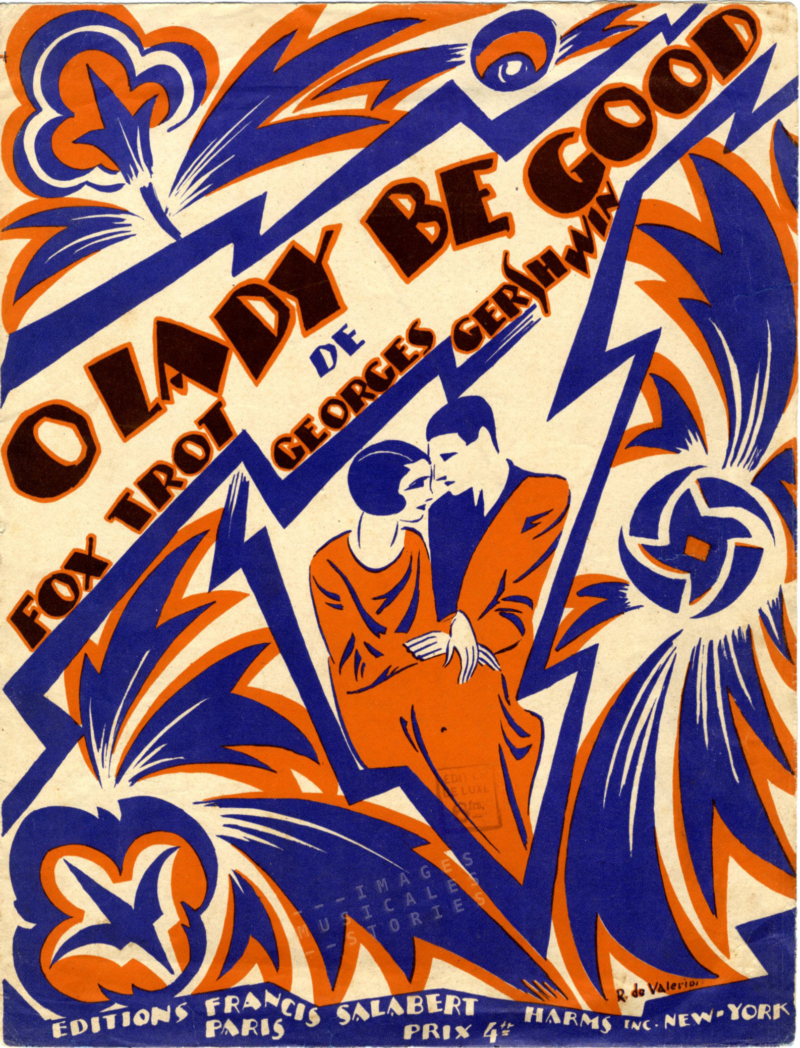 'O Lady be Good' by George and Ira Gershwin. Sheet Music published by Editions Francis Salabert, Paris, 1925. Cover illustrated by Roger de Valerio.