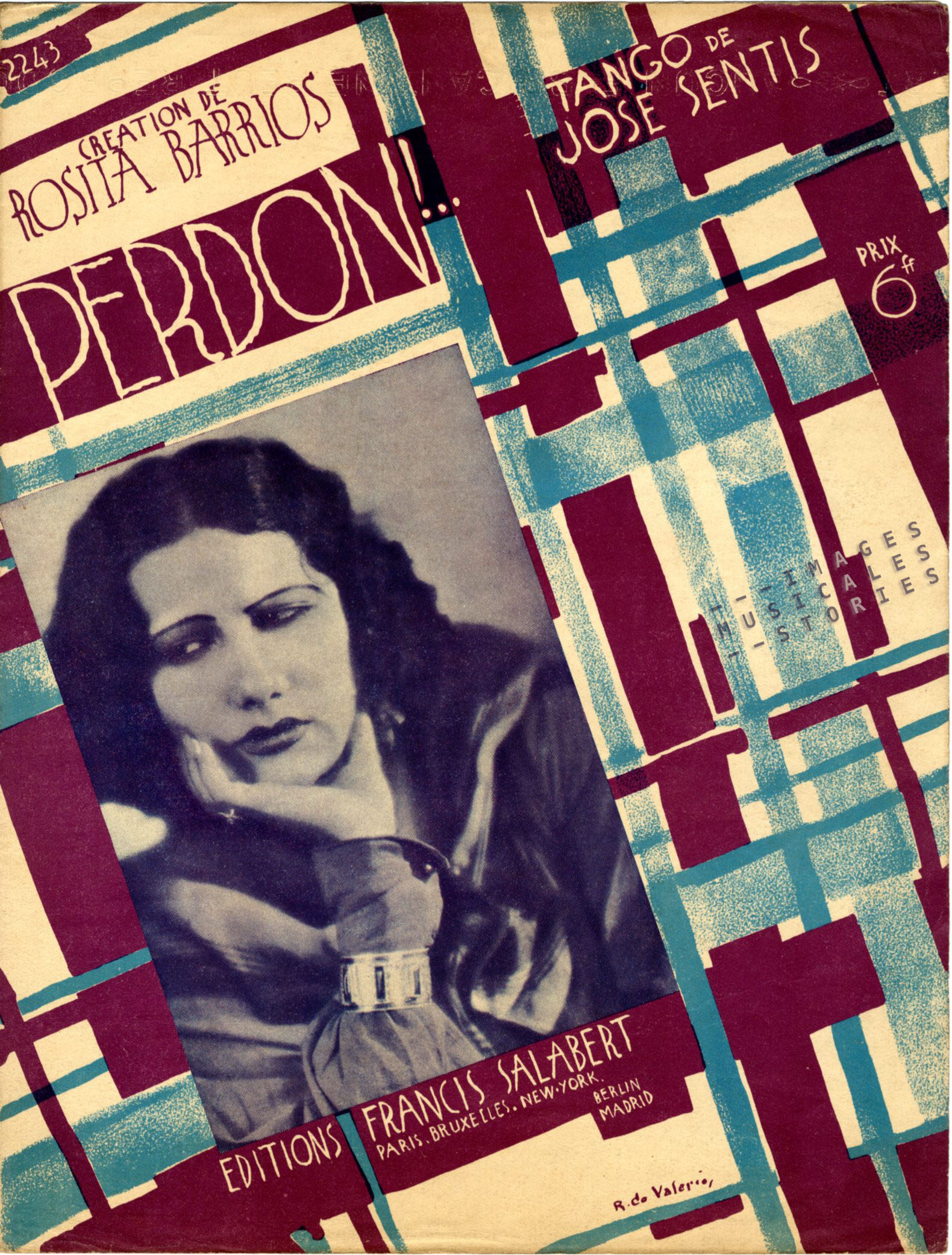 Sheet music 'Perdon!' illustrated by Roger de Valerio., 1929.