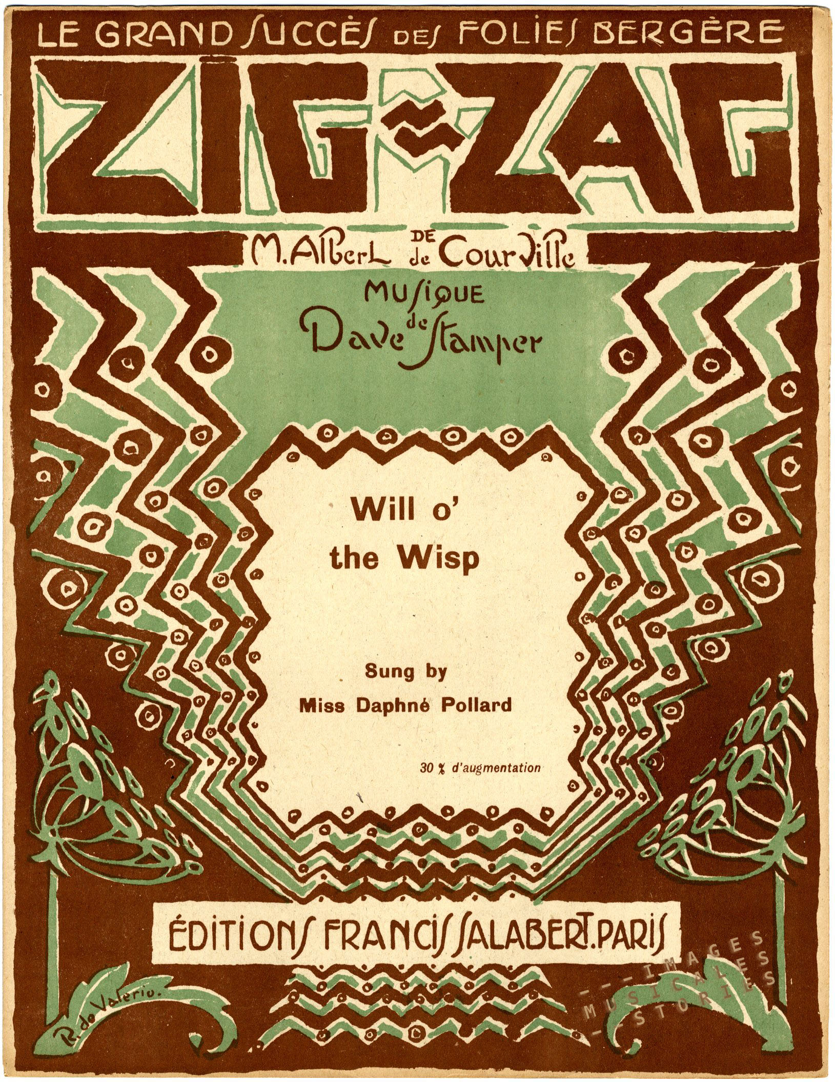 Sheet music illustration by R. de Valerio for the revue Tig-zag