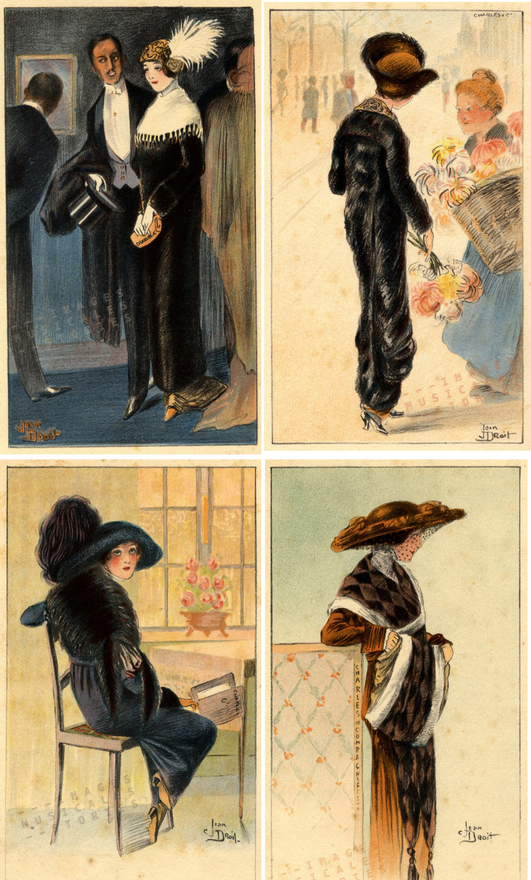 Four catalogue cards for Charles & Cie , illustrated by Jean Droit (Liège, s.d.)