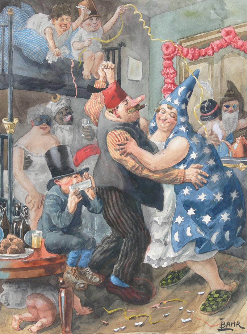 Lustiger Karneval. Aquarelle by Johann Bahr.