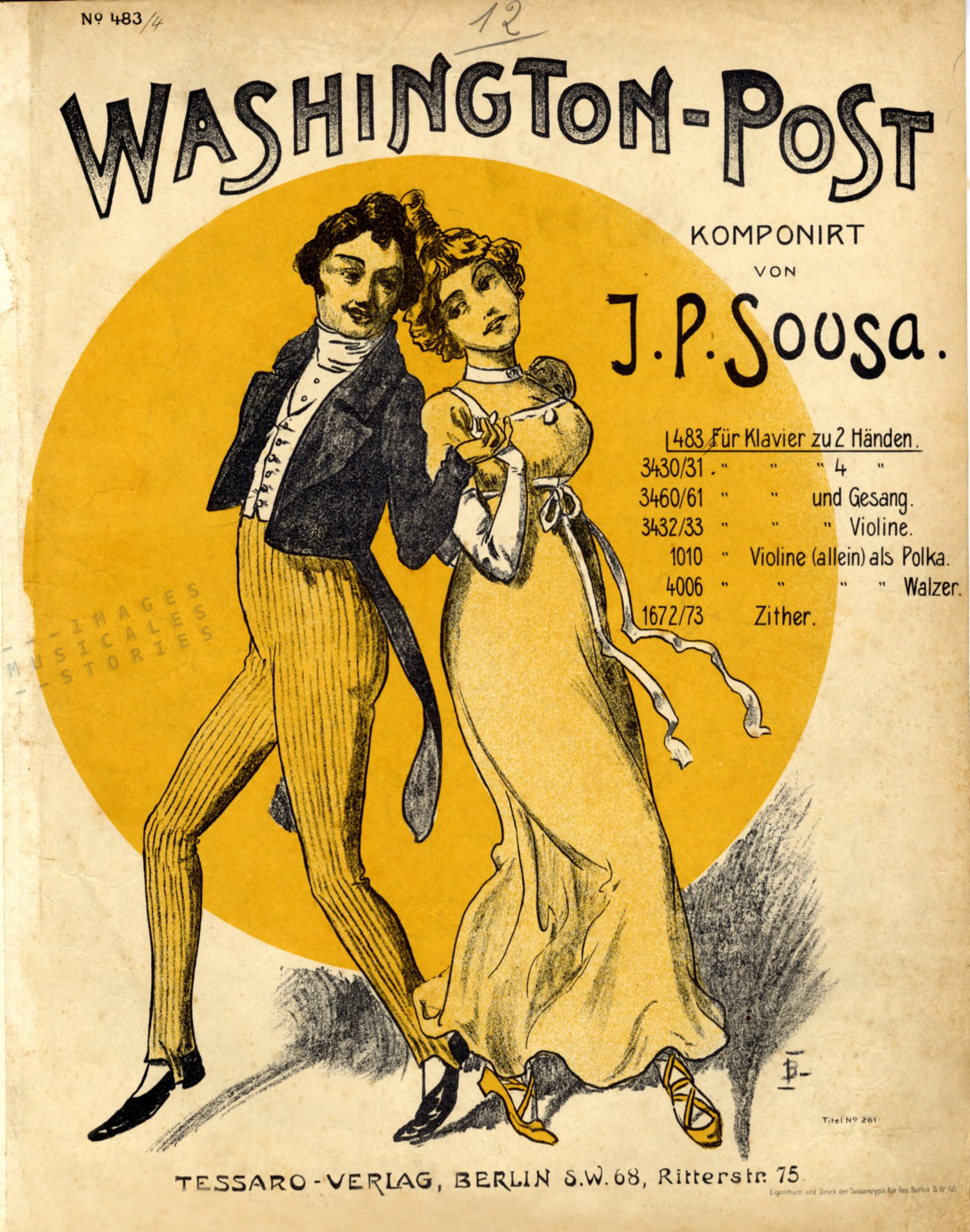 Sheet Music cover (The Washington Post, J. P. Sousa) ill. by J. Bahr