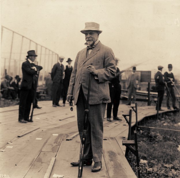 Sousa at his favourite sport, trapshooting in 1916. { source: Pennsylvania State Sportsmen's Association ]