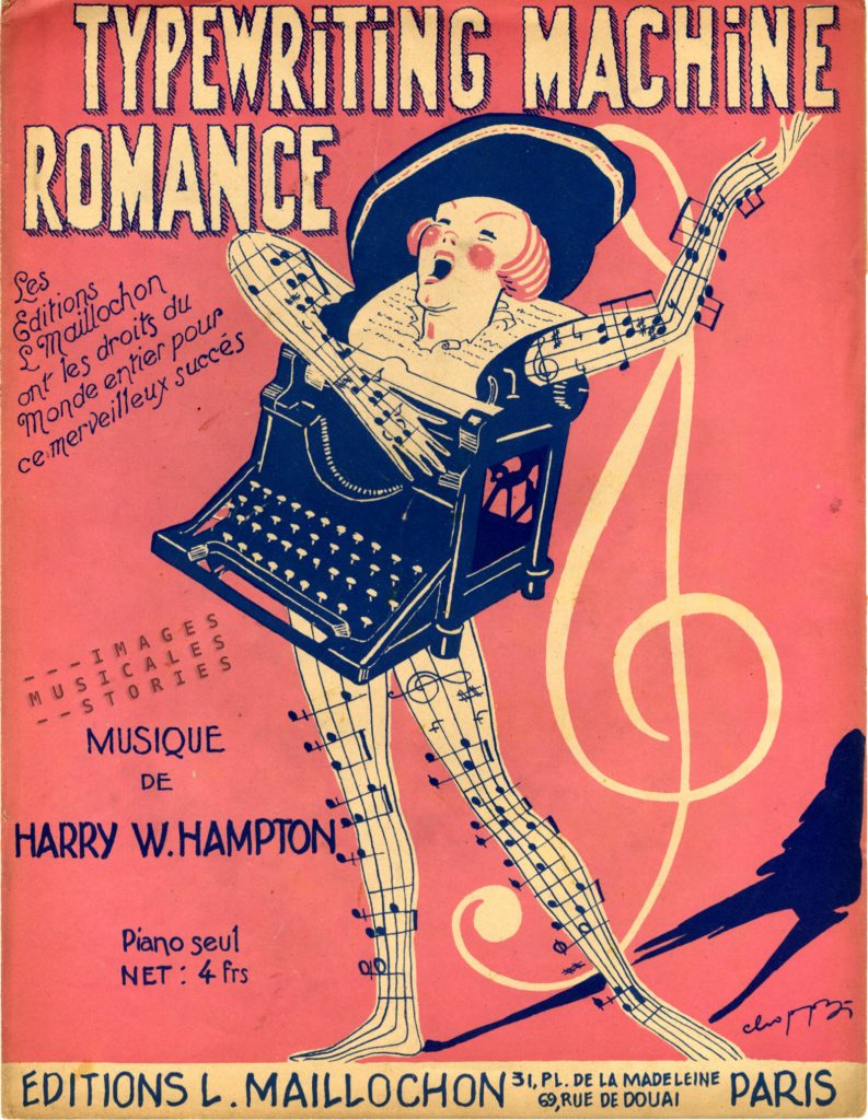 'Typewriting Machine Romance' sheet music cover illustrated by Choppy (partition musicale illustrée par Choppy)
