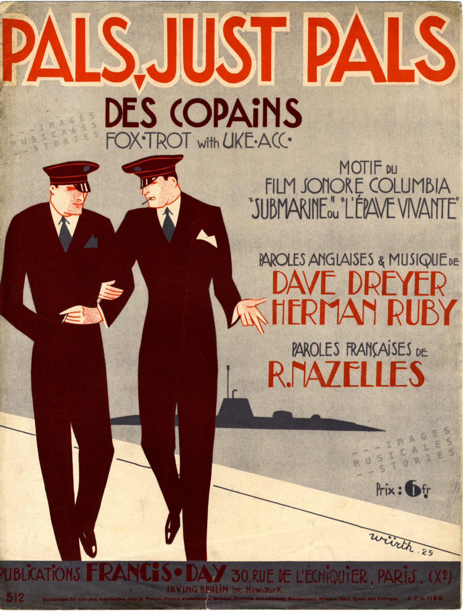 Partitions musicales ilustre par Würth pour la chanson 'Les Copains' (1929)