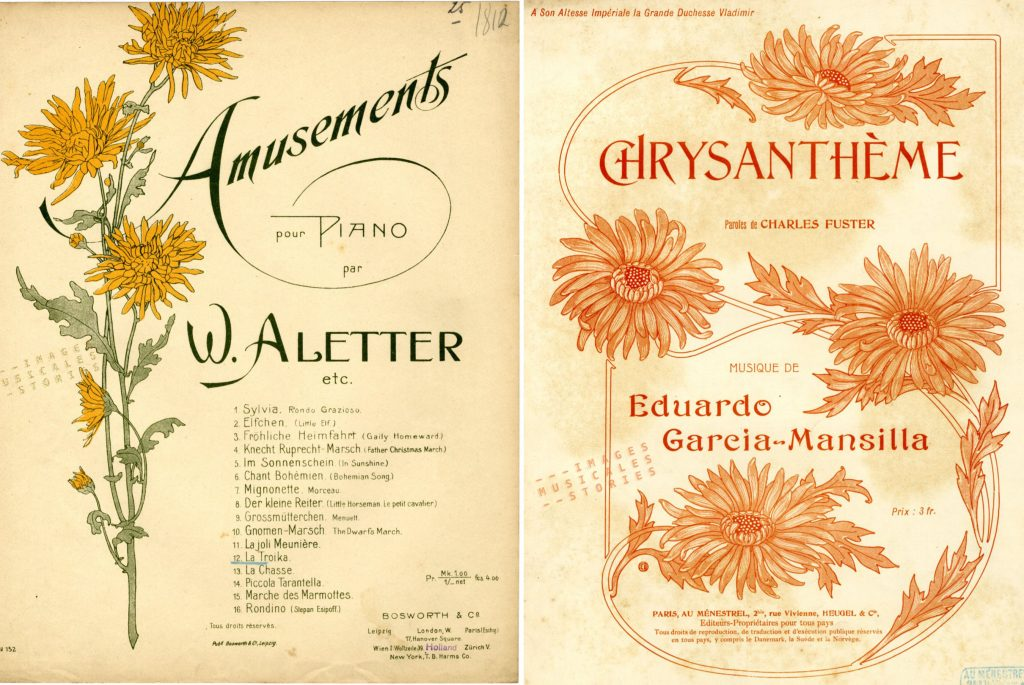 Sheetmusic covers of chrysanthemums (partitions musicales chrysanthèmes)