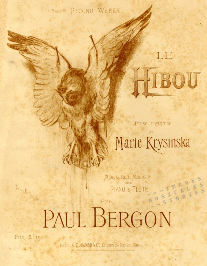 Cover for the sheet music 'Le Hibou' by Paul Bergon & Marie Krysinska, published by A. Quinzard (Paris, 1897) and illustrated by Georges Bellenger.
