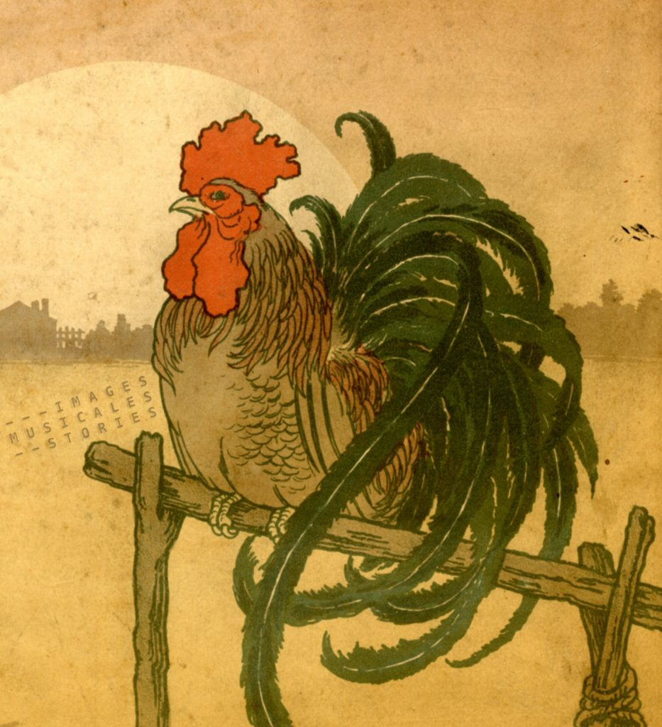 The cock on the front cover of 'Chansons des Oiseaux'