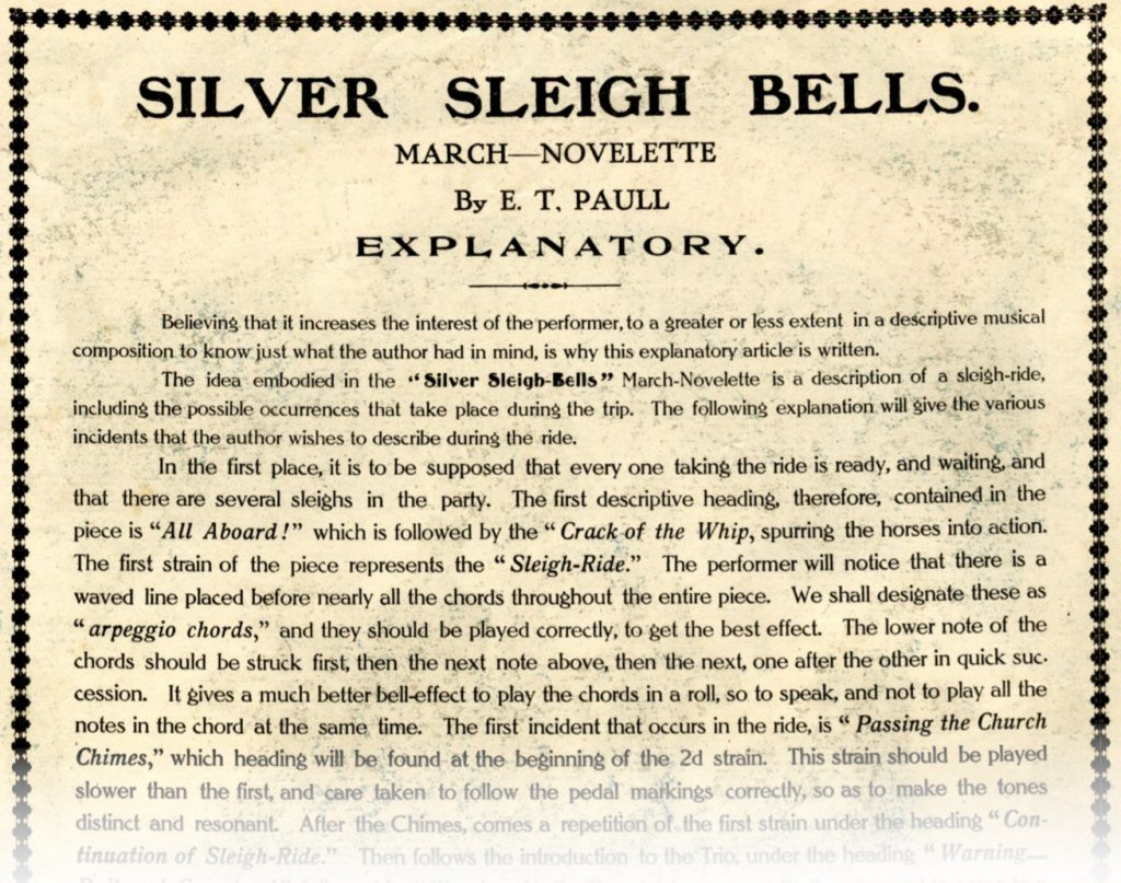 Explanatory text to the 'Silver Sleigh Bells'.