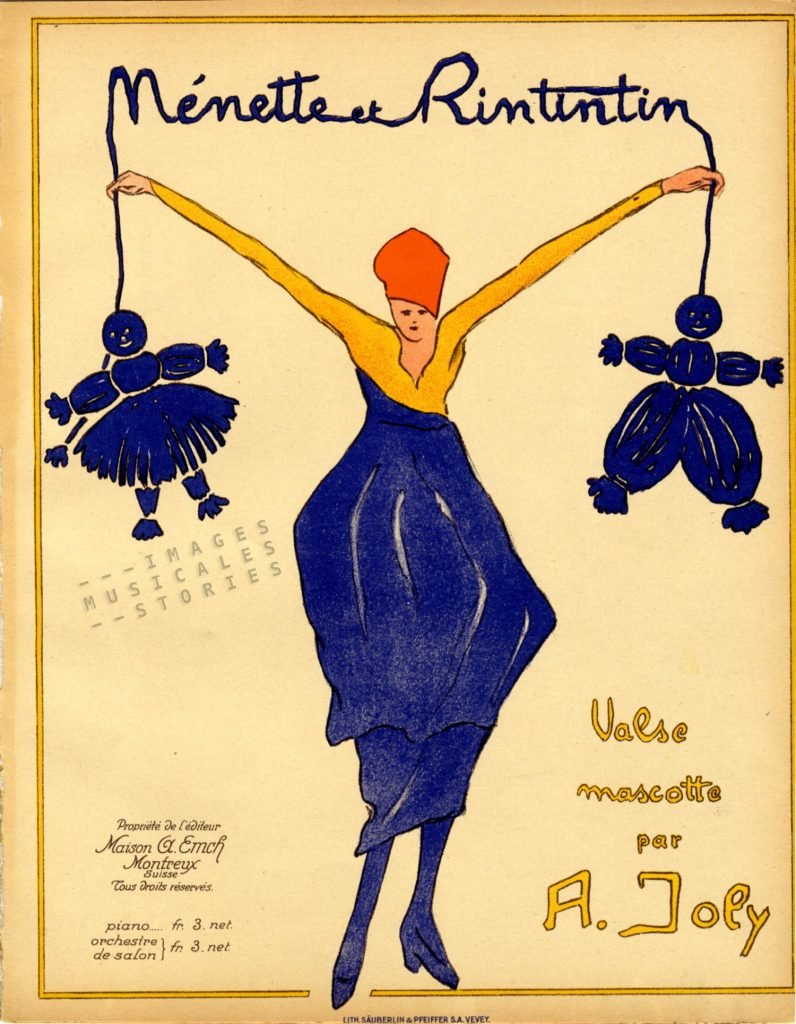 'Nénette et Rintintin' waltz by A. Joly. Illustrated sheet music cover