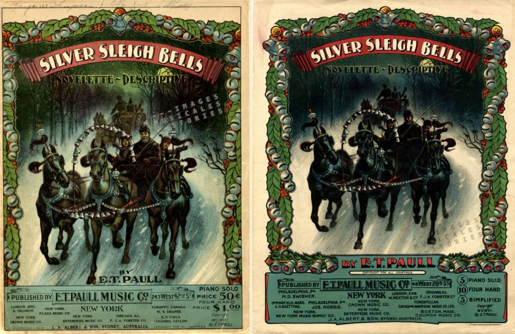 A lithographic misprint of 'Silver Sleigh Bells'