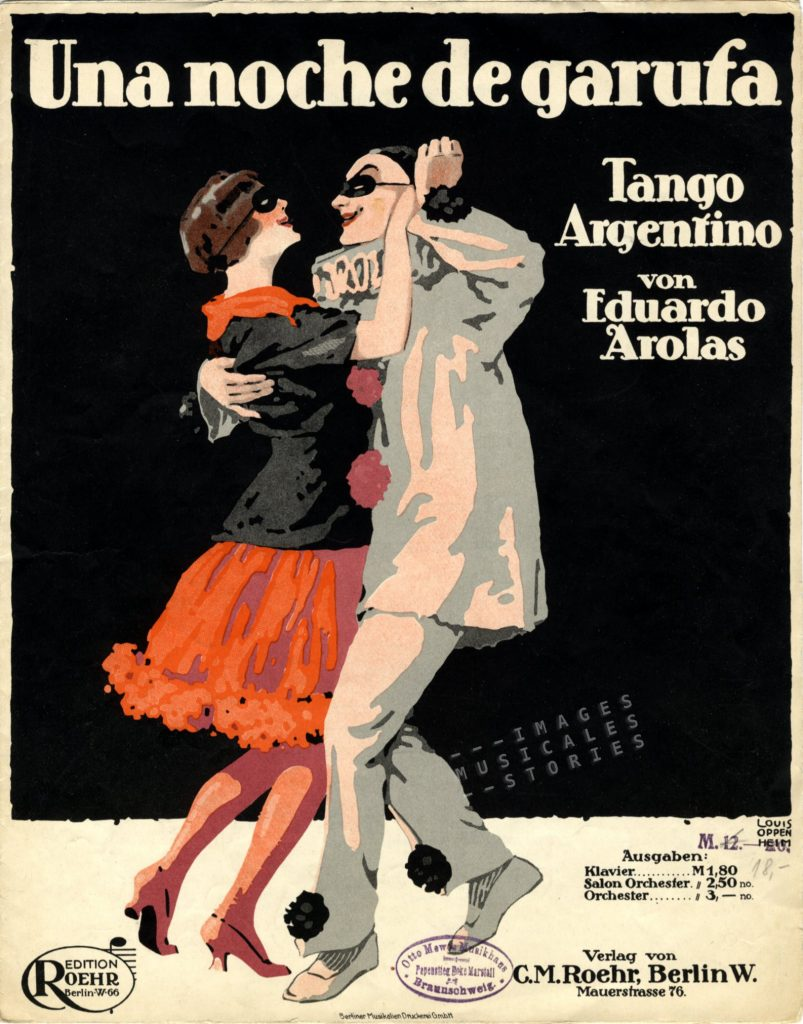 'Una noche de garufa', a tango by Eduardo Arolas. Published by C. M. Roehr (Berlin, s.d.) and illustrated by Louis Oppenheim.