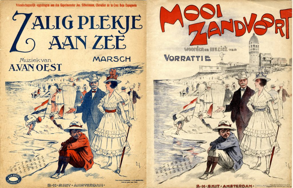 Two almost identical covers published by 'Zalig plekje aan zee' composed by A. Van Oest (LEFT) and 'Mooi Zandvoort' by Vorrattie. Both publishe by B H Smit (Amsterdam)