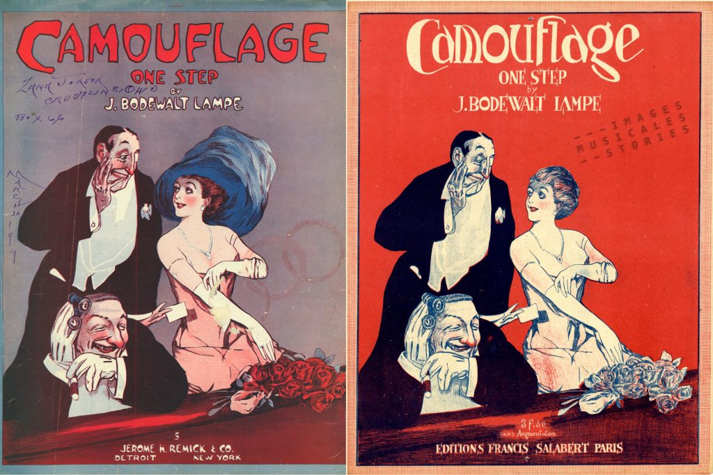 Two striking versions of 'Camouflage' sheet music illustration