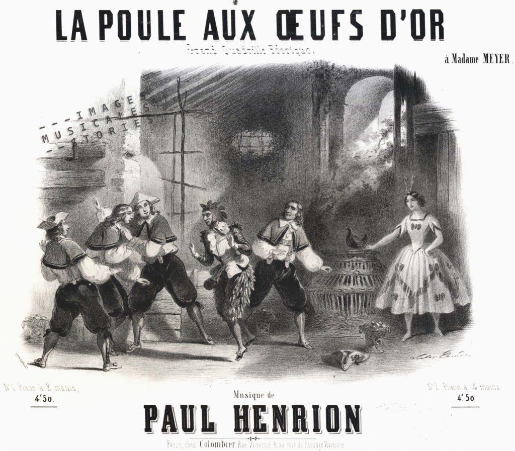 'La Poule aux oeufs d'or. Grand Quadrille Féerique' by Paul Henrion,sheet music published by Colombier (Paris, 1850) and illustrated by Victor Coindre.