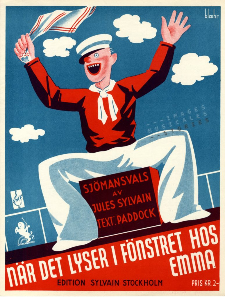 Illustrated cover of sheet music 'När det lyser i fönstret hos Emma' by Jules Sylvain & Paddock. Illusrtrated by bloehr.