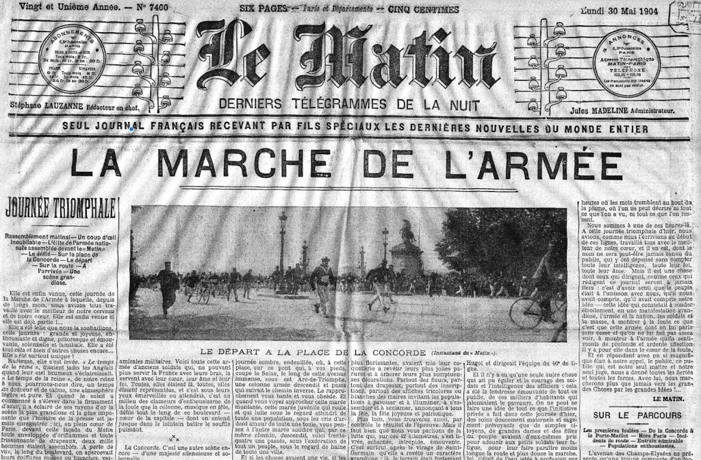Front page of Le Matin newspaper in 1904