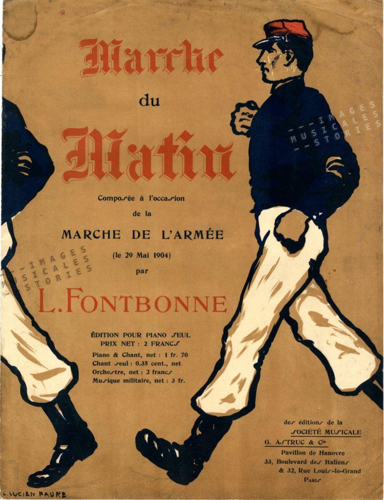 Sheet miusic cover for 'Marche du Matin' by Léon Fontbonne. Illustration by Lucien Faure-Dujarric