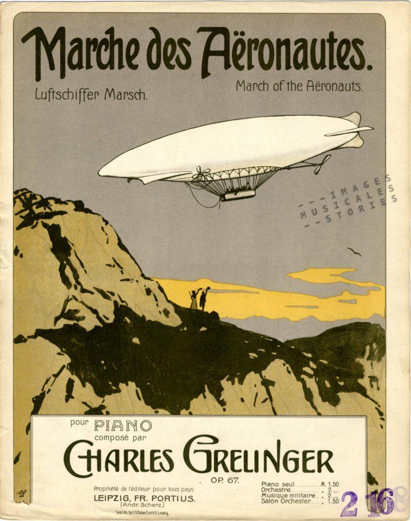 Sheet music cover for 'Marche des Aëronautes'