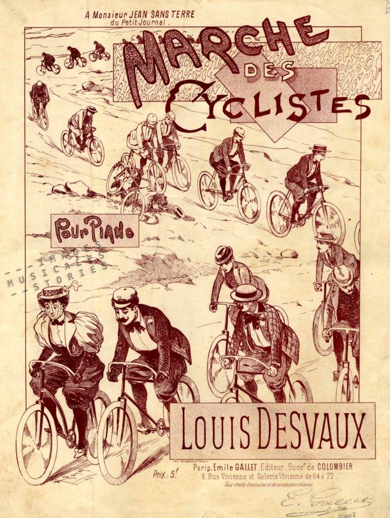 Sheet music cover illustrating the Marche des Cyclistes