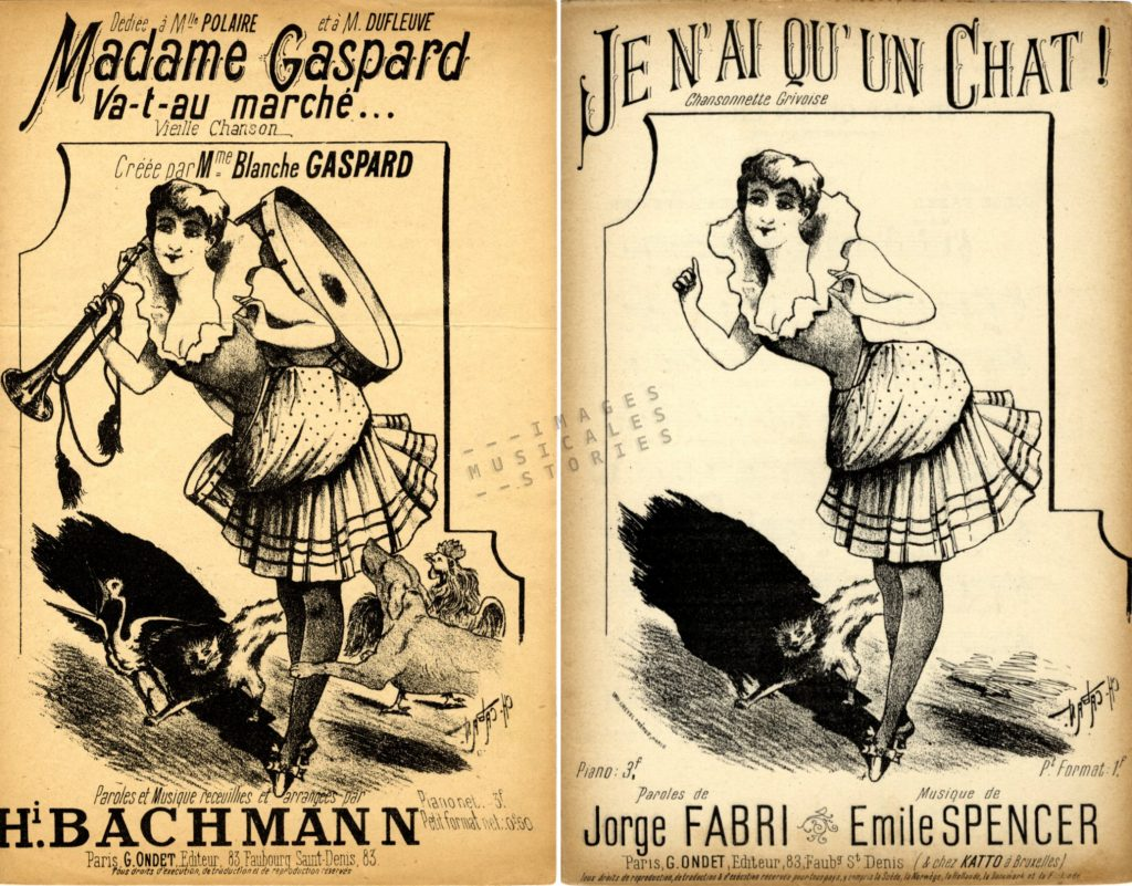 sheet music cover for Madame Gaspard illustrated by Caban
