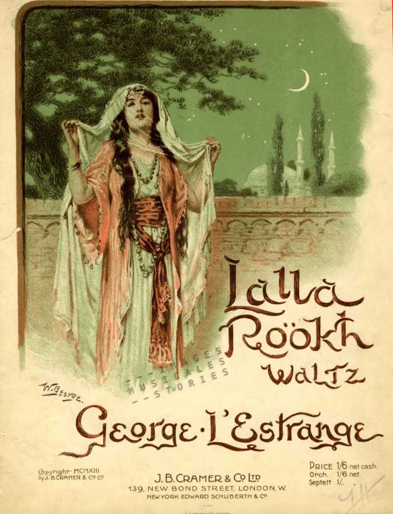 Sheet music cover 'Lalla Rookh' by George L'Estrange, illustrated by W. George